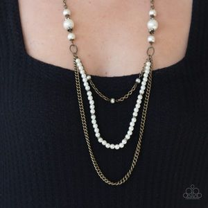 Pearls & Brass Necklace Earring Set NWT